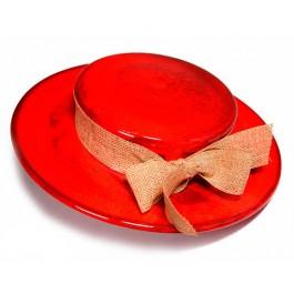 Sombrero-decorativo-rojo-alfareria-moderna-ceramica-contemporanea-oleria-de-buño