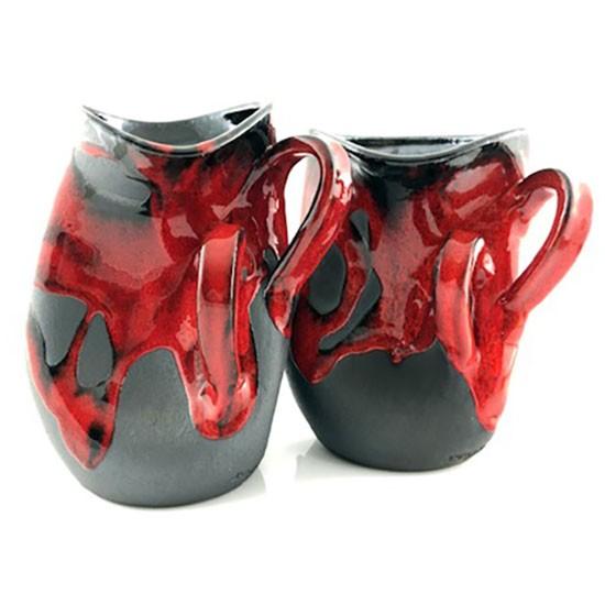 ánforas rojas diseño arrugado alfarería de buño