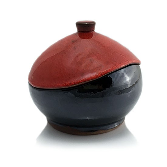 Bomboneta roja caja de cerámica bote alfarería de buño olería y cerámica