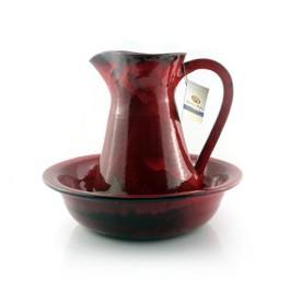 palangana roja cerámica decorativa